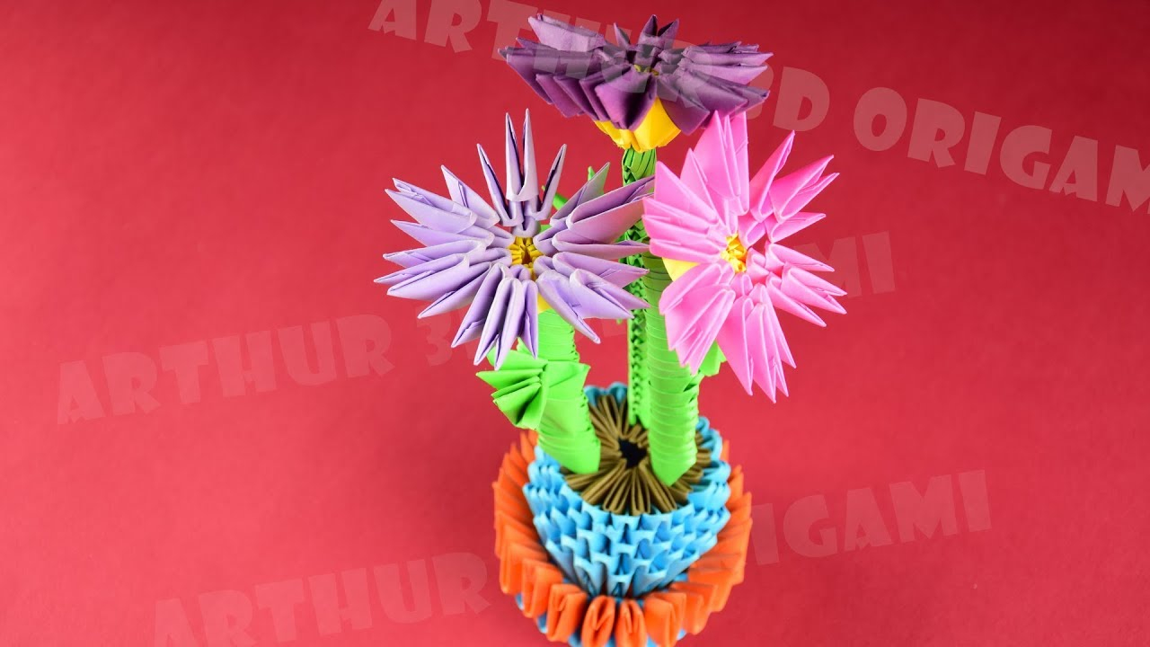 3D Origami Flower Pot How To Make Flowers In A Pot From Paper 3d Origami