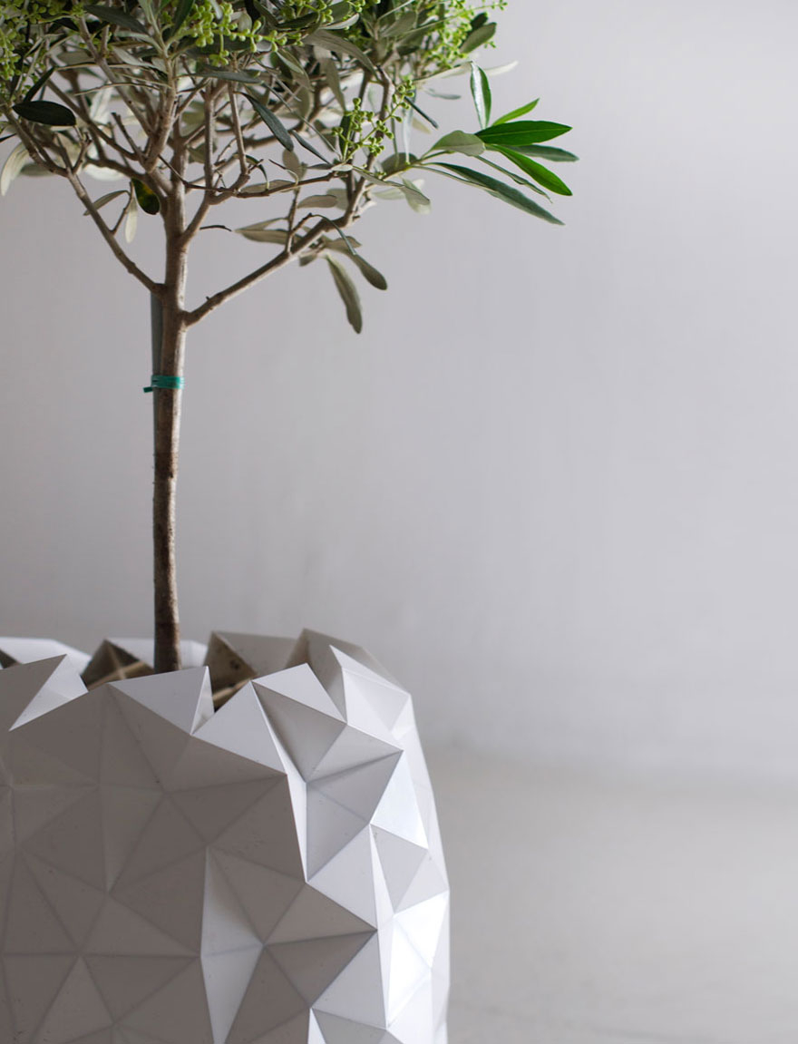 3D Origami Flower Pot Shape Shifting Origami Inspired Pots Grow With Your Plant Demilked