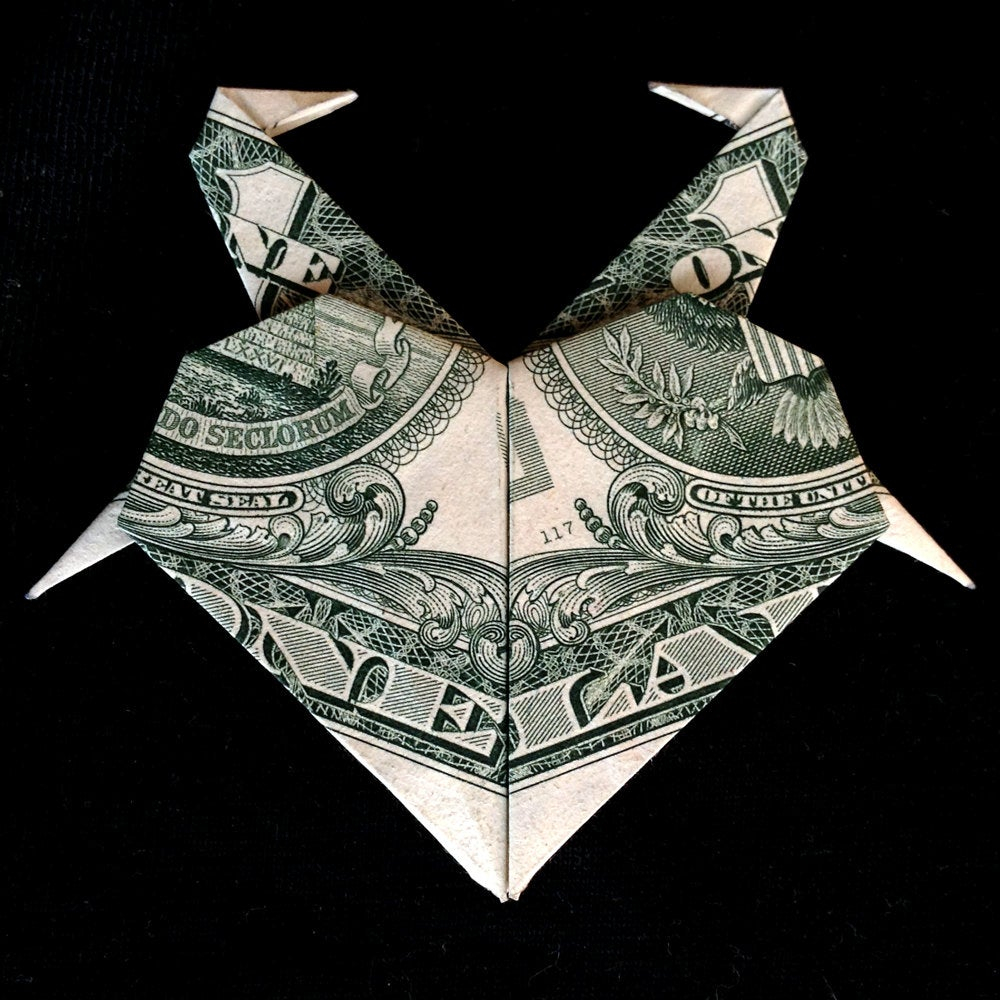 Dollar Bill Origami Heart Dollar Origami Heart With Flamingos Charm Valentine Day Art Gift Money Folded Real One Dollar Bill Gift For Her Pin Home Decor Wedding Gift