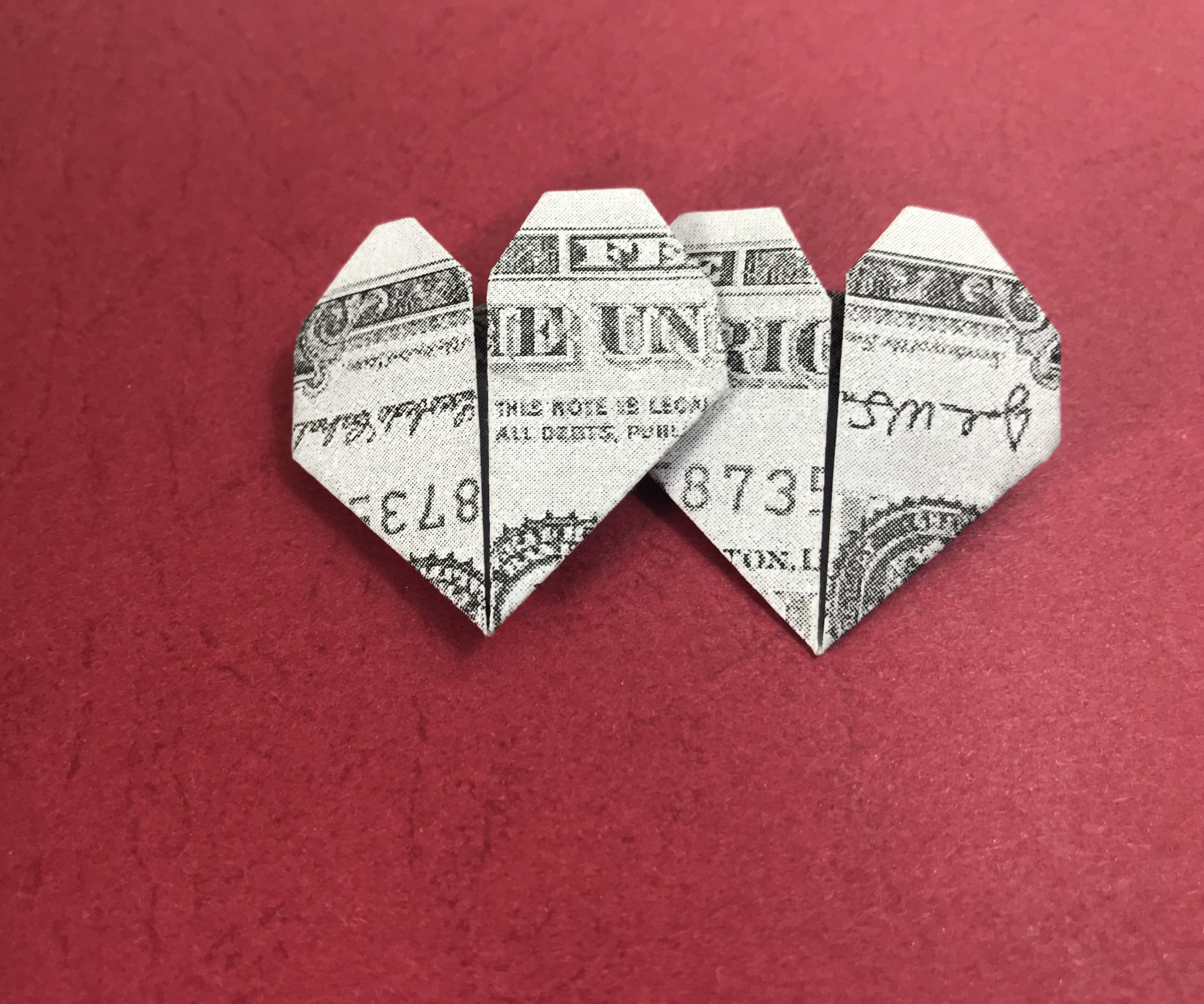 Dollar Bill Origami Heart Money Origami Heart 5 Steps With Pictures