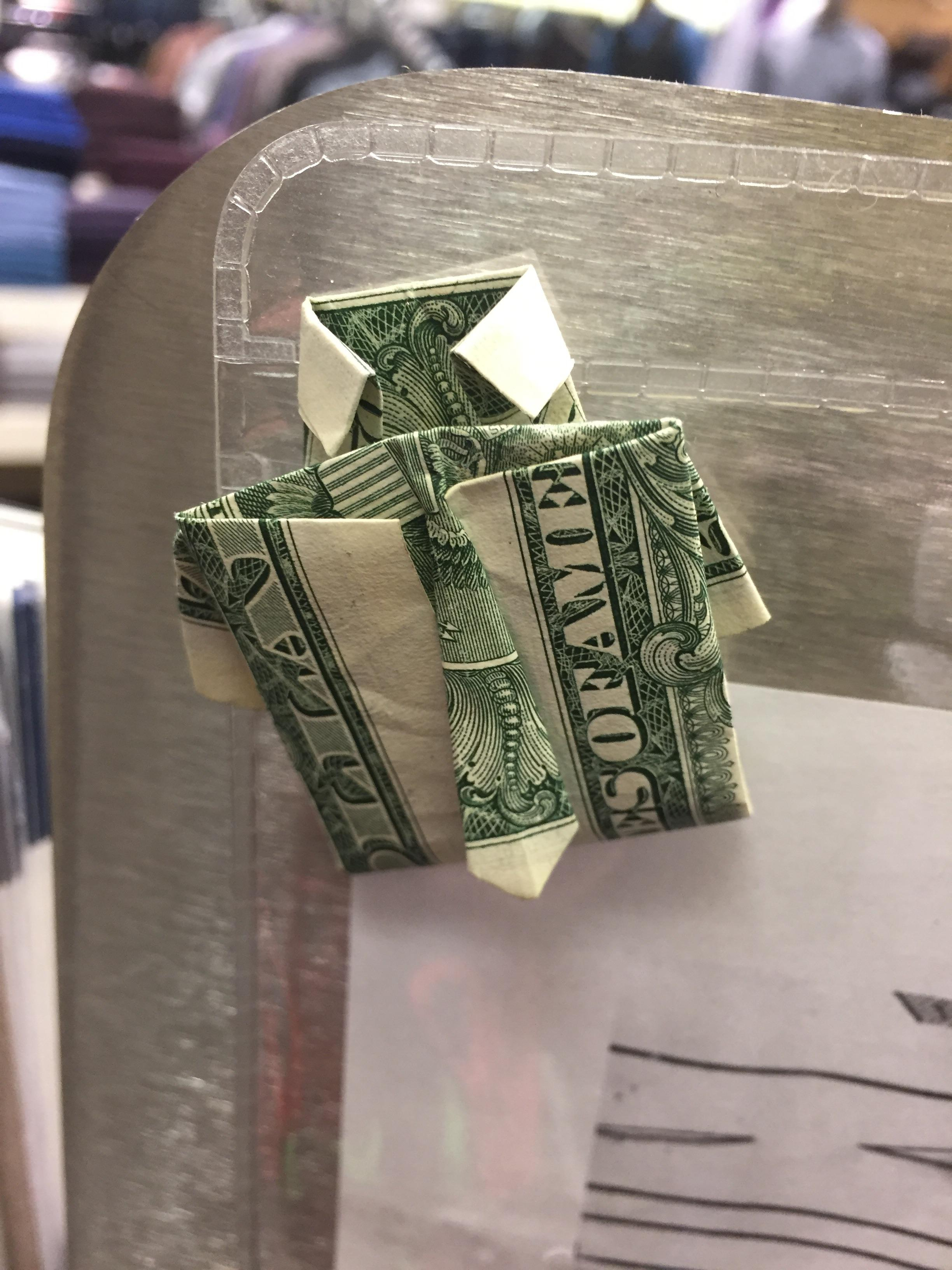 Dollar Bill Origami Shirt With Tie I Work At A Mens Store And Someone Was Able To Fold This Dollar