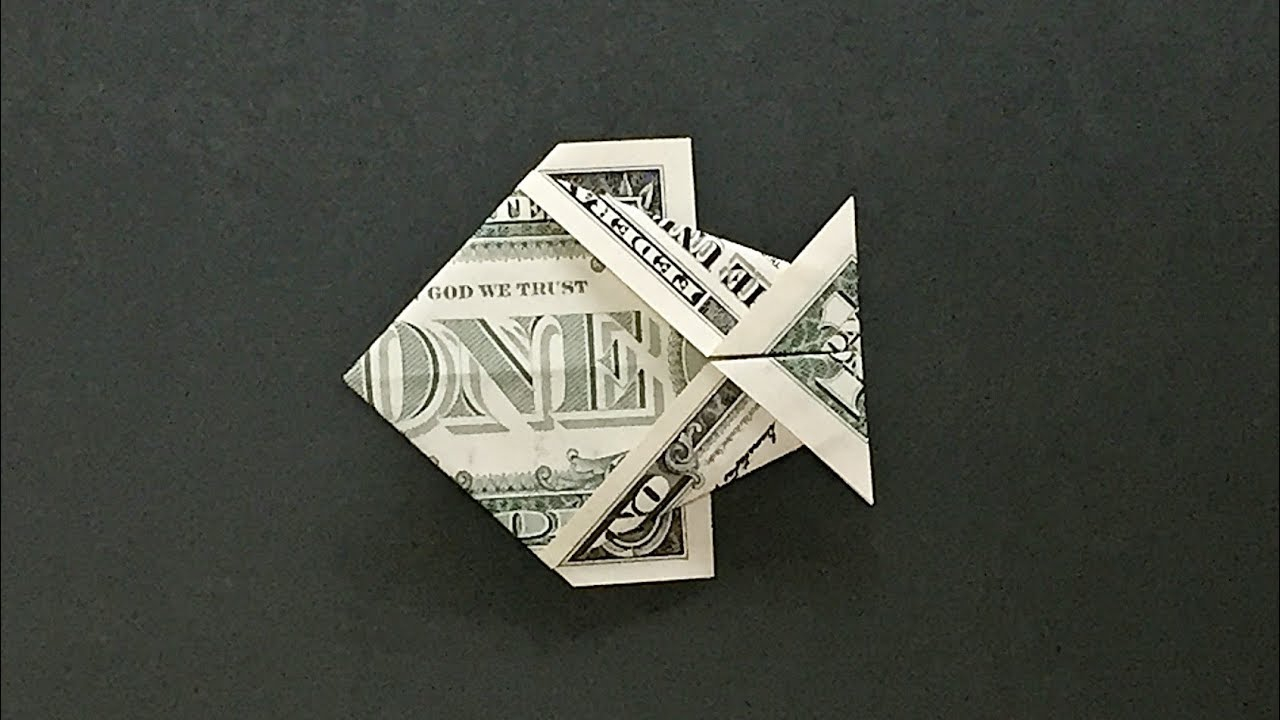 Easy Money Origami Instructions For Kids Money Origami Fish Instructions How To Fold A Dollar Bill Fish Easy For Beginners