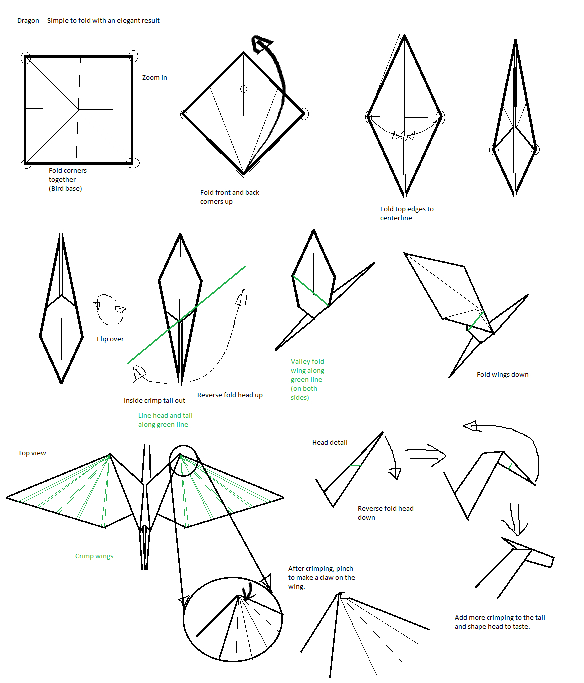 Easy Origami Diagrams 36 Easiest Origami Dragon