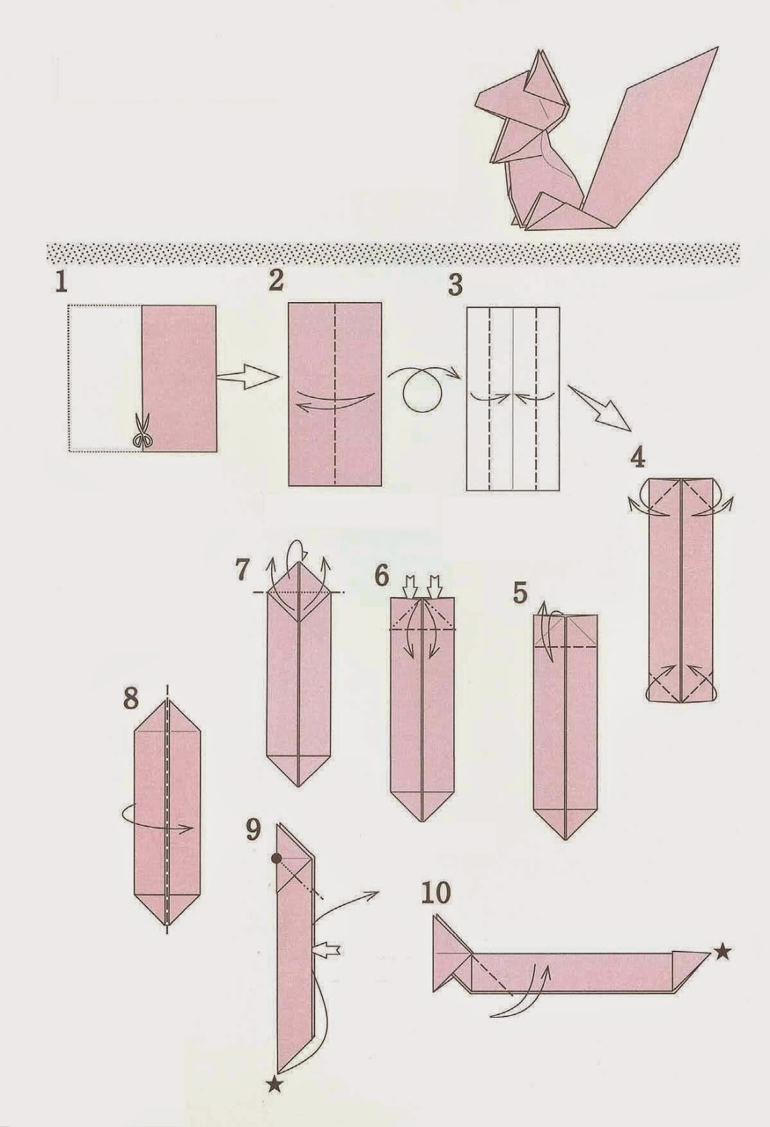 Easy Origami Diagrams How To Fold Origami Squirrel From The Paper Origami Diagram Of The