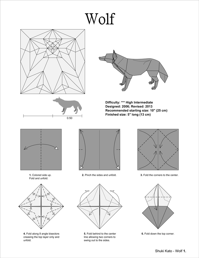 Easy Origami Diagrams Origami Wolf