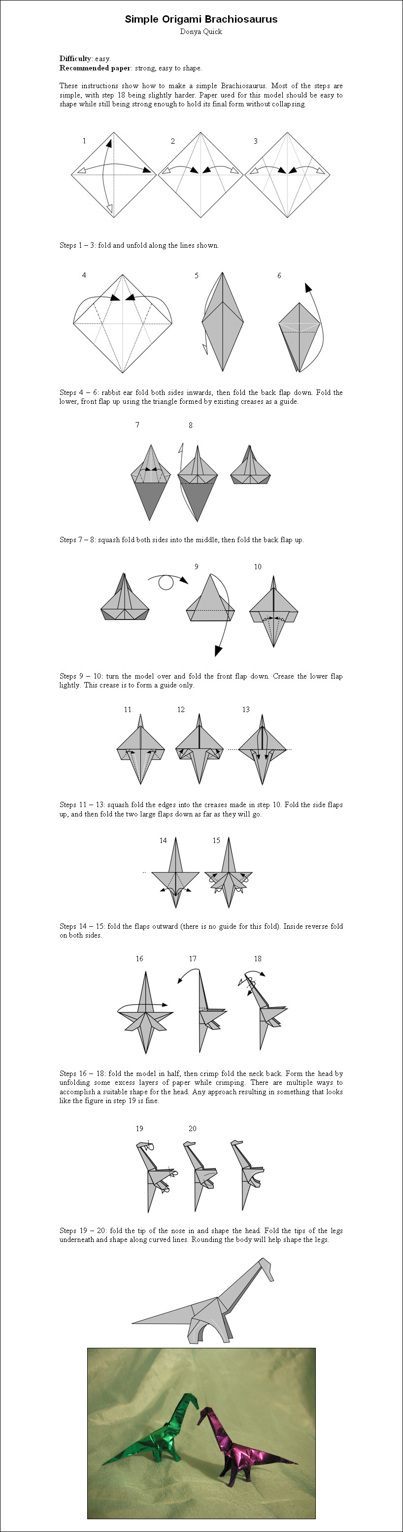 Easy Origami Diagrams Simple Origami Brachiosaurus Donyaquick On Deviantart