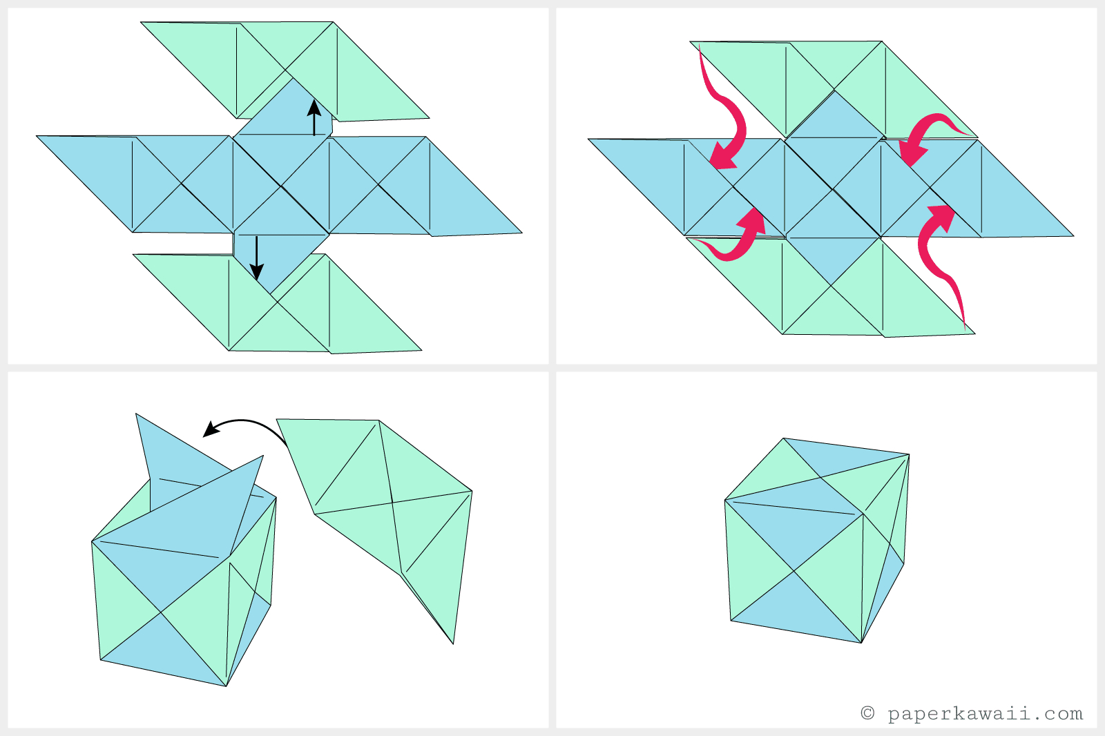 How To Fold Origami Cube How To Make A Modular Origami Cube Box
