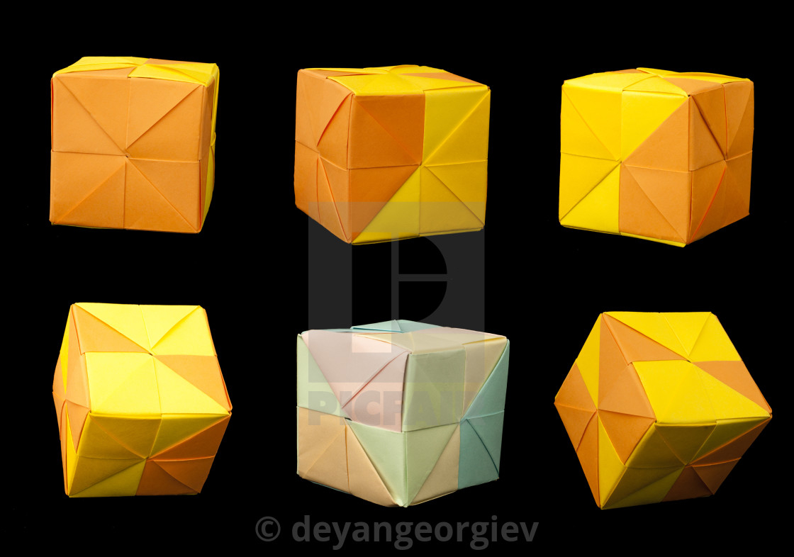 How To Fold Origami Cube Paper Cubes Folded Origami Style License Download Or Print For