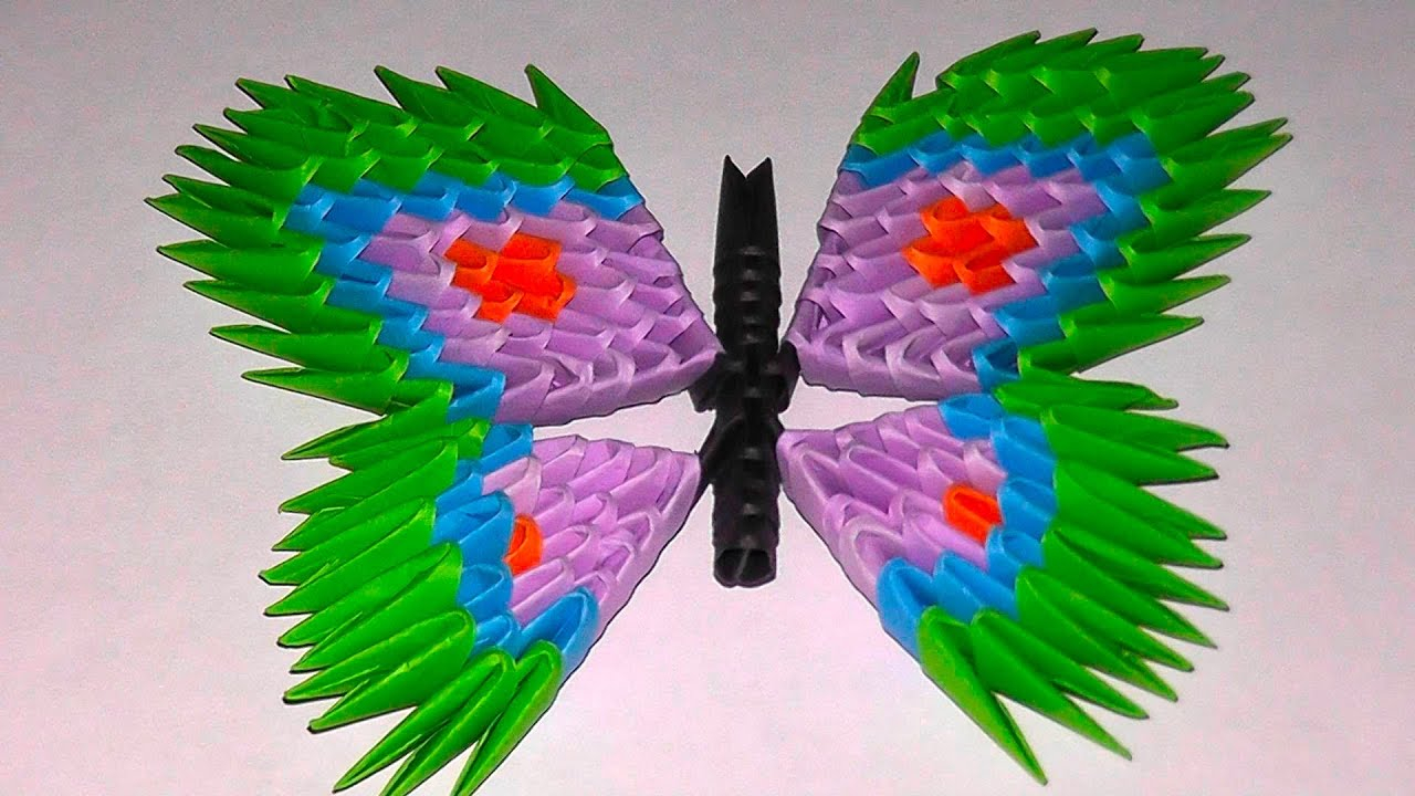 How To Make A 3D Origami Butterfly 3d Origami Butterfly Assembly Diagram Tutorial Instructions Variant 2