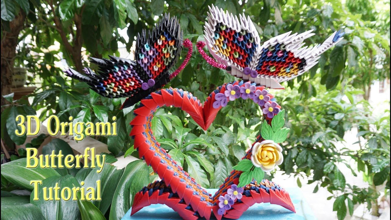 How To Make A 3D Origami Butterfly 3d Origami Butterfly On Heart Stand Tutorial Diy Paper Butterfly On Heart Stand Home Decoration