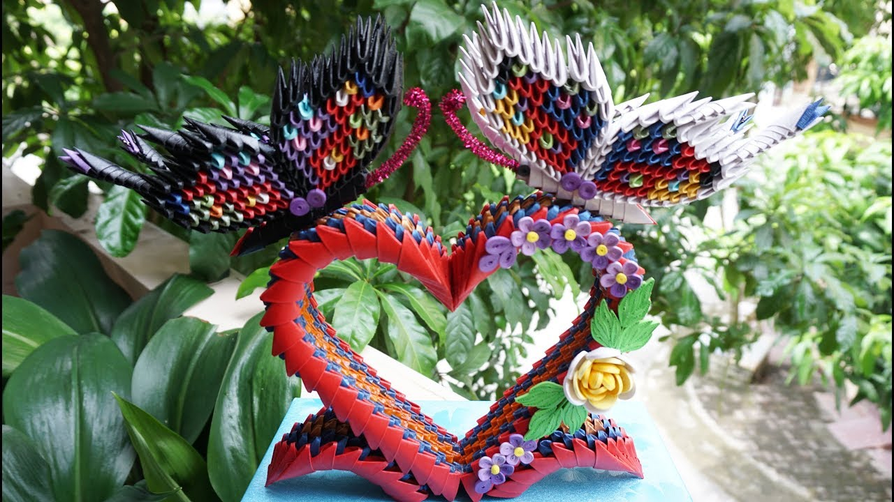 How To Make A 3D Origami Butterfly How To Make 3d Origami Butterflies Diy Paper Butterflies On Heart Stand Valentine Gift