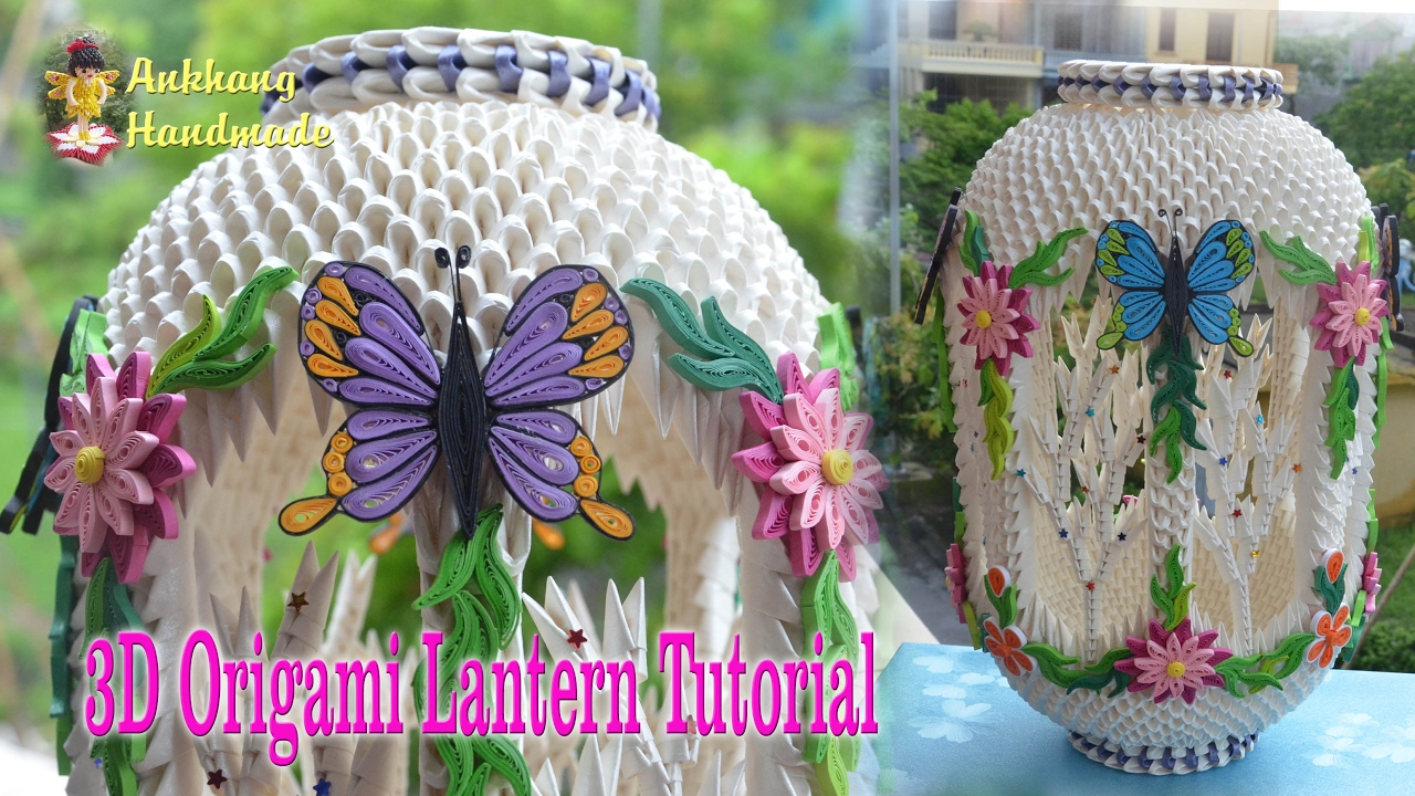 How To Make A 3D Origami Butterfly How To Make 3d Origami Lantern Diy Paper Lantern Tutorials