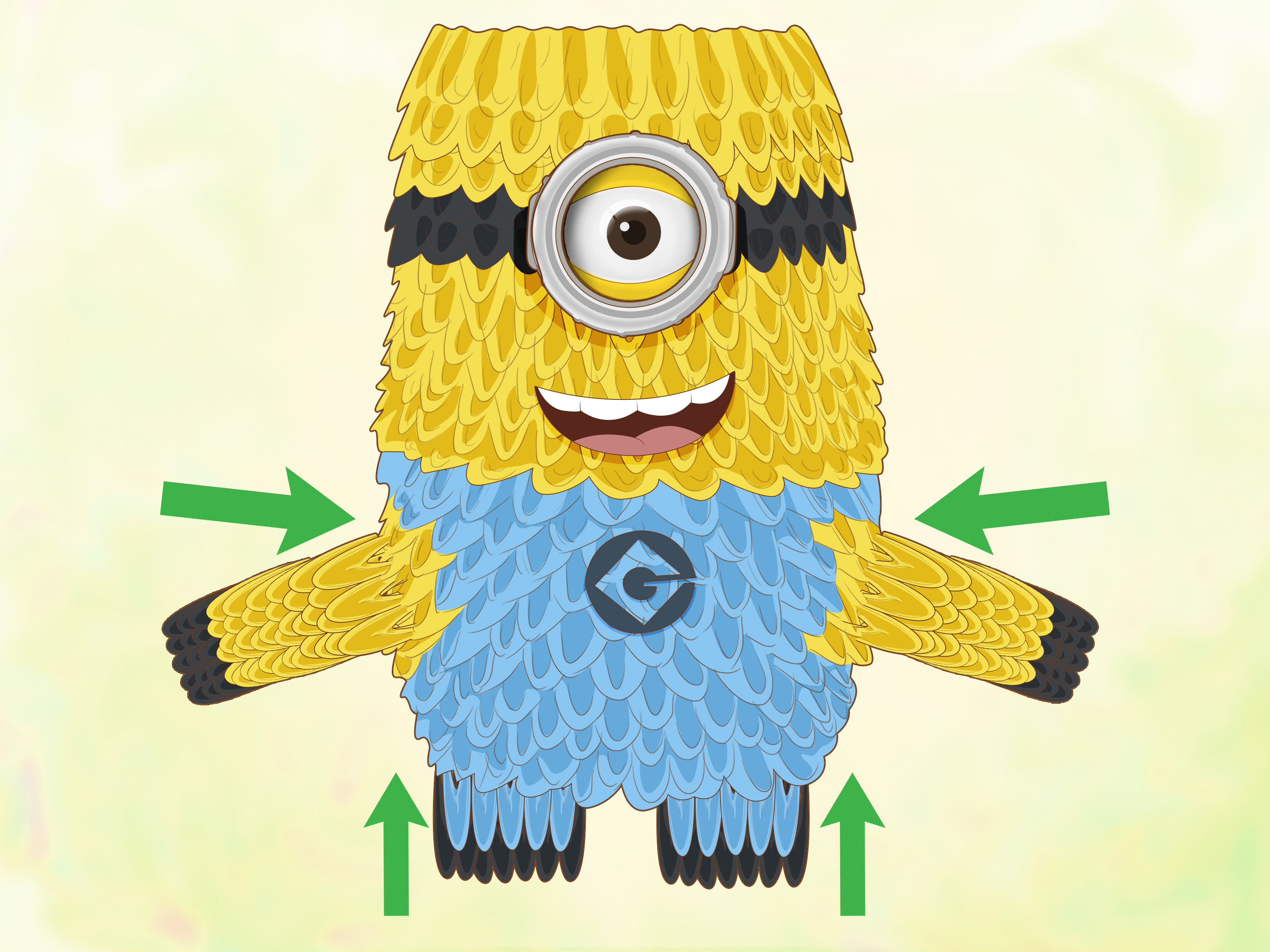 How To Make A 3D Origami Butterfly How To Make A 3d Origami Minion 12 Steps With Pictures