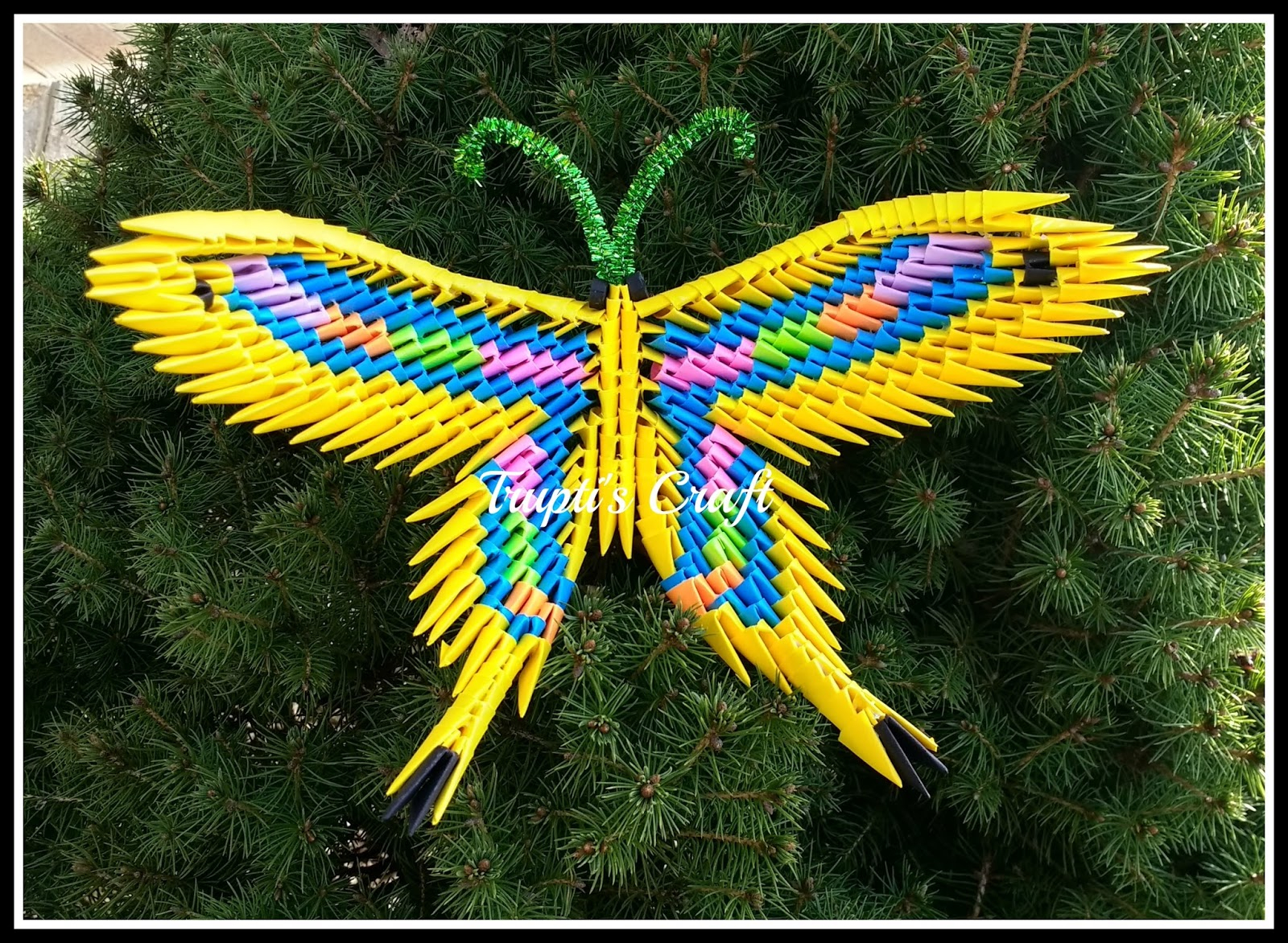 How To Make A 3D Origami Butterfly Truptis Craft 3d Origami Butterfly