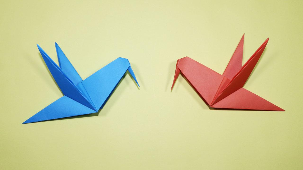 How To Make A Bird With Origami How To Make An Origami Bird Origami Bird Instructions Papercraft