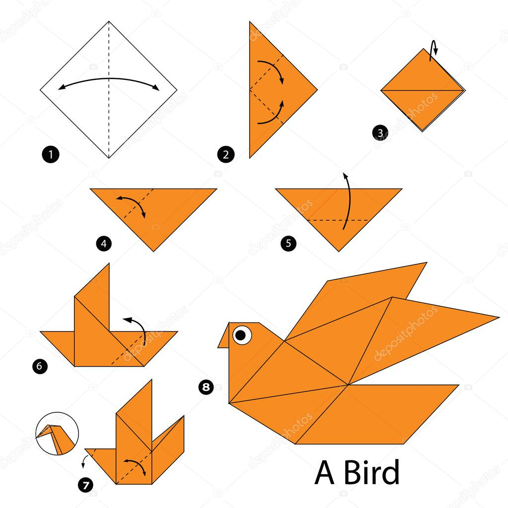 How To Make A Bird With Origami Step Step Instructions How To Make Origami A Bird Stock Vector