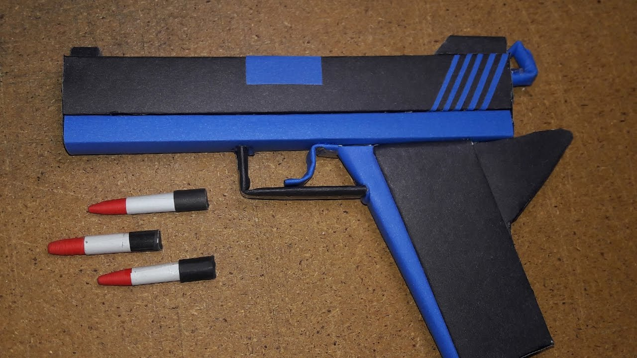 How To Make A Origami Gun Diy How To Make A Paper Defense Gun That Shoot Paper Bullet Toy Weapons Drorigami