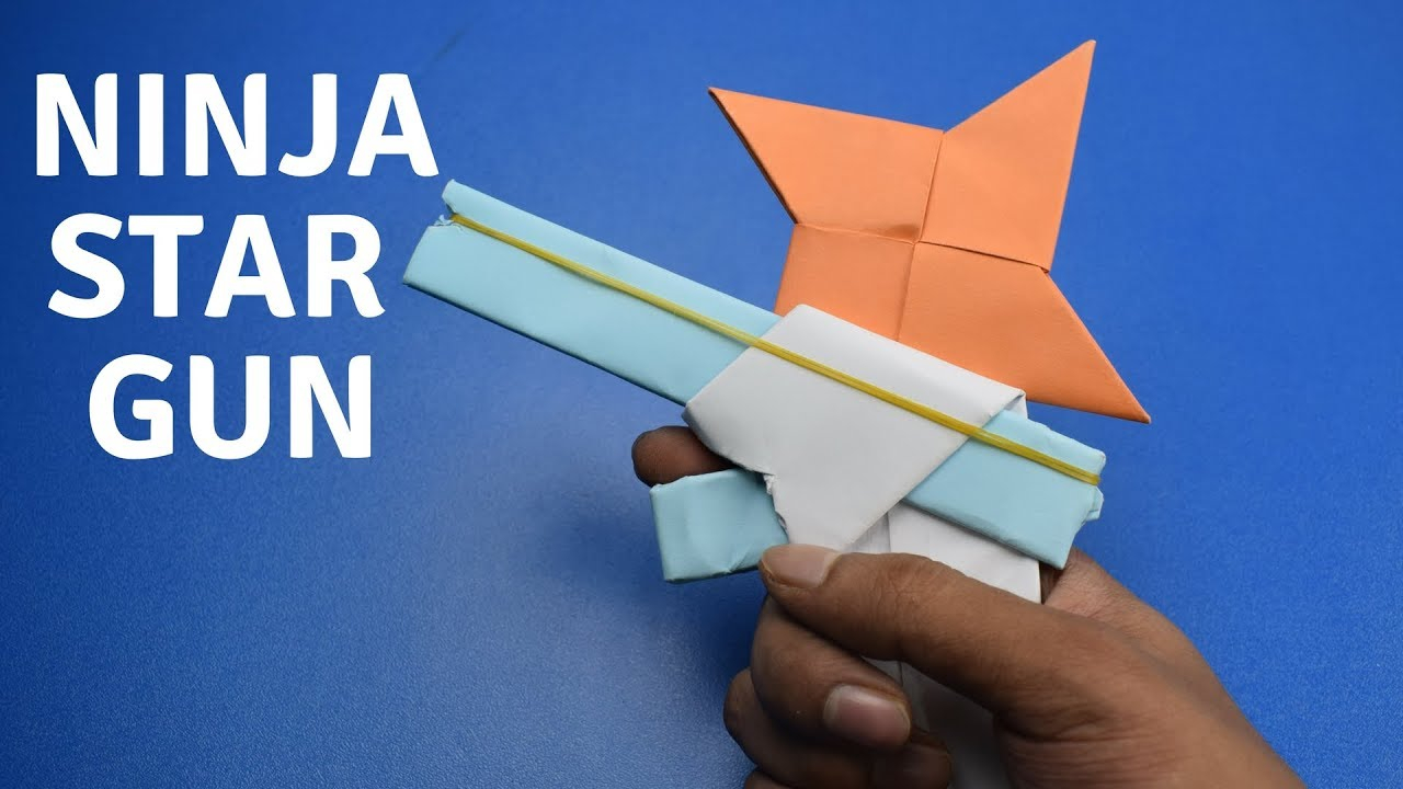 How To Make A Origami Gun How To Make A Paper Gun That Shoots Ninja Stars With Trigger Diy Craft Ideas