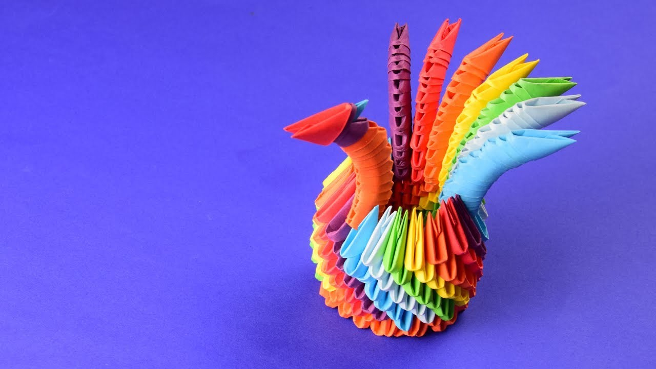 How To Make An Origami 3D Swan 3d Origami A Rainbow Swan Peacock Tutorial Assembly