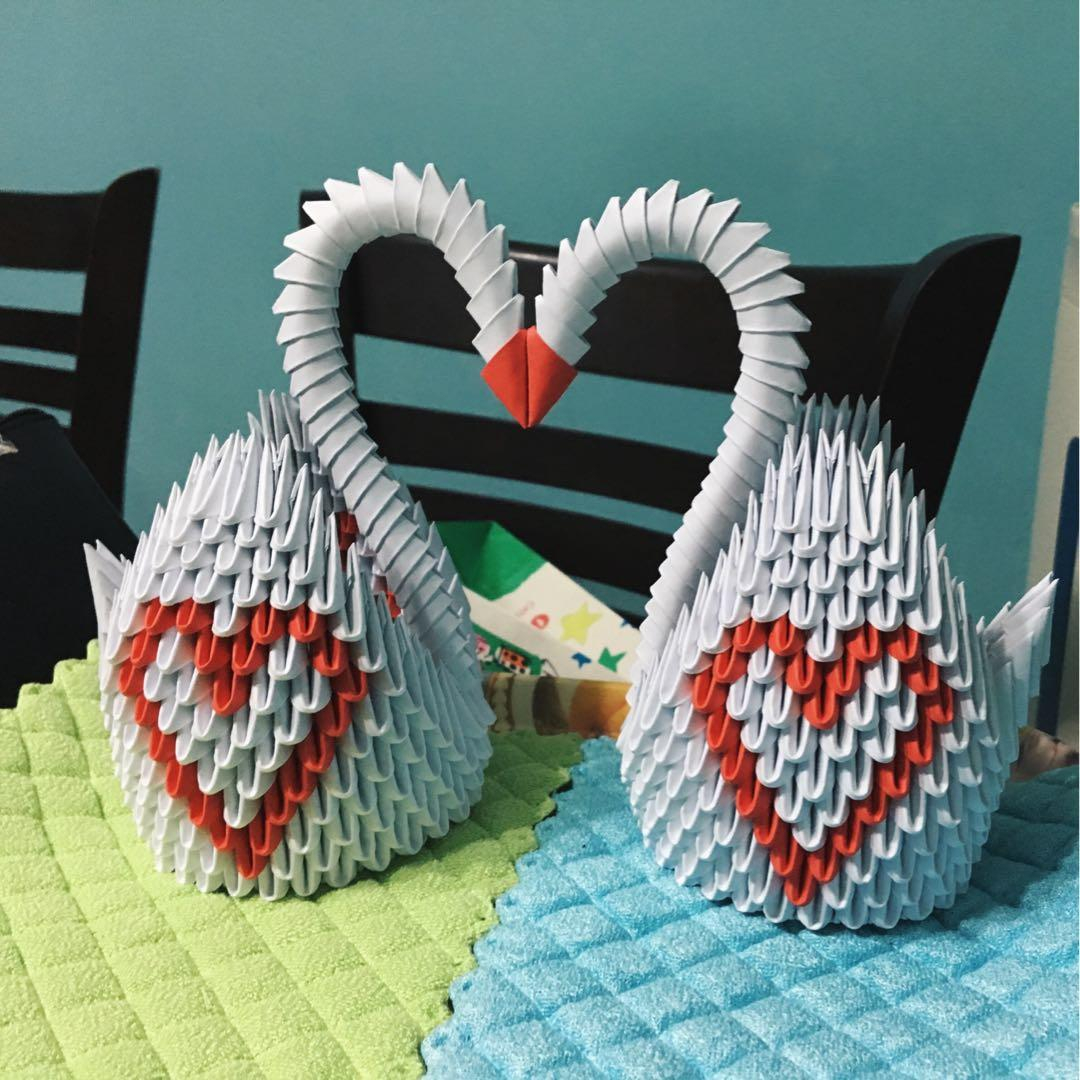 How To Make An Origami 3D Swan 3d Origami Swan Design Craft Handmade Craft On Carousell