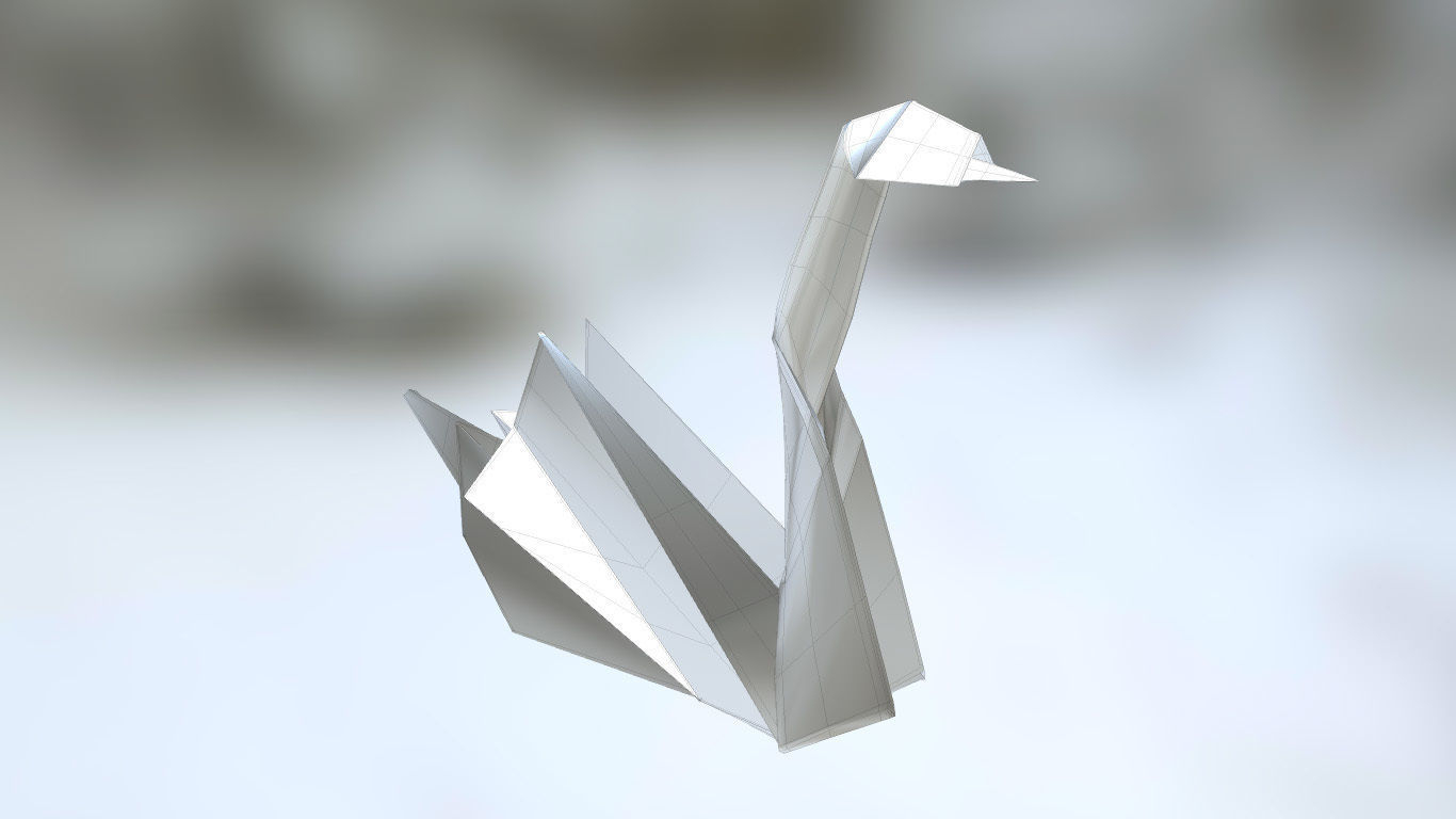 How To Make An Origami 3D Swan Realistic 3d Model Of A Paper Origami Swan No Conversion Request 3d Model