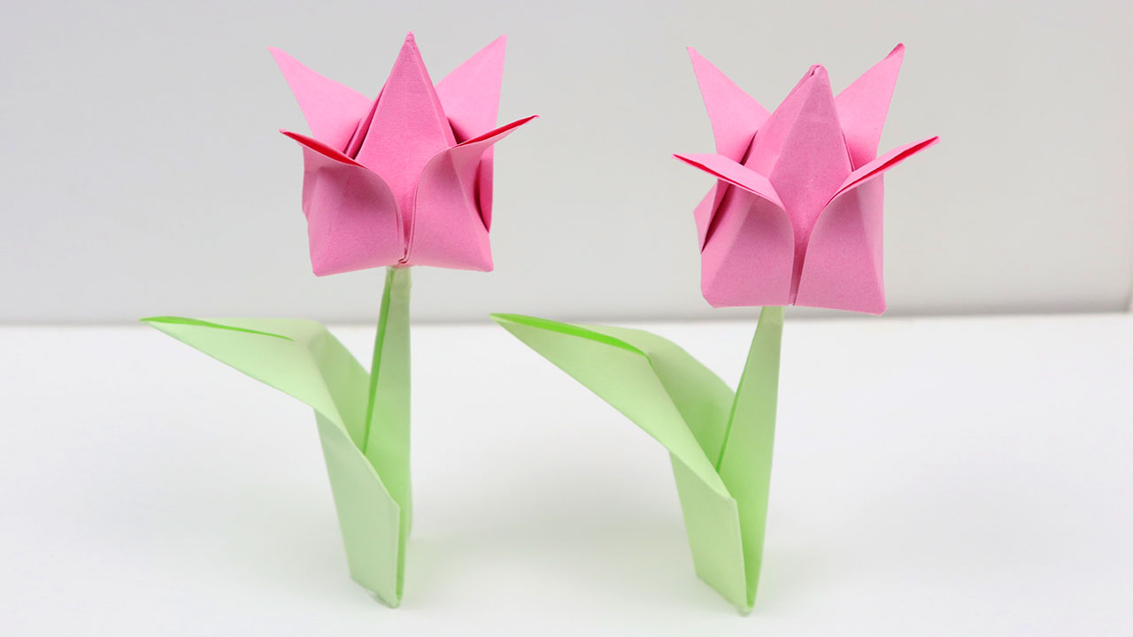 How To Make An Origami Tulip How To Make Easy Origami Tulip Flowers Diy A Very Simple Paper