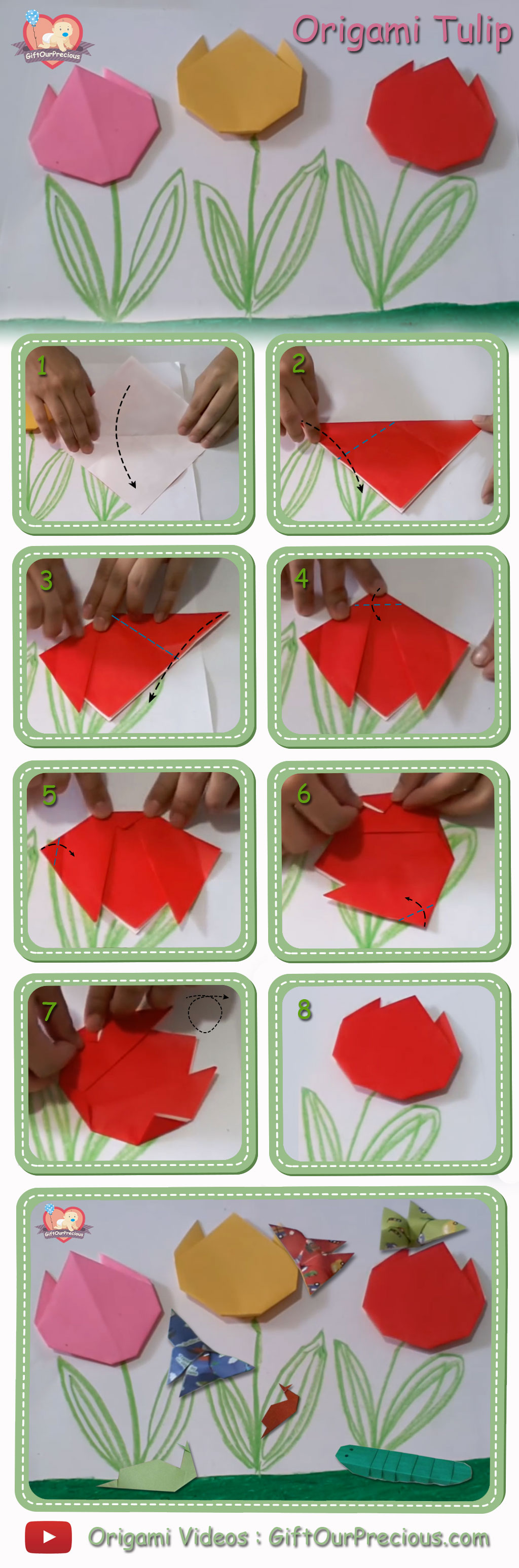 How To Make An Origami Tulip Origami Tulip Flowers Step Step Instruction Gift Our Precious