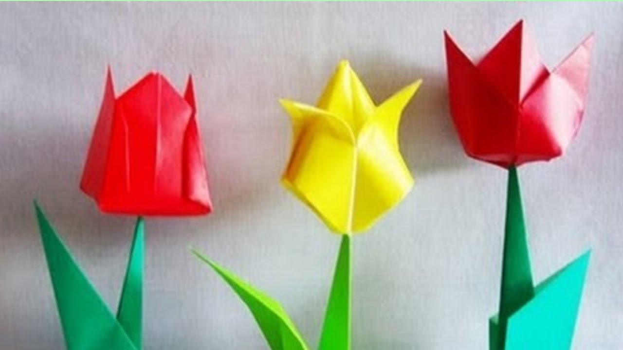 How To Make An Origami Tulip Origami Tulip How To Make An Origami Tulip Flower Making Beautiful Paper Tulip Flowers