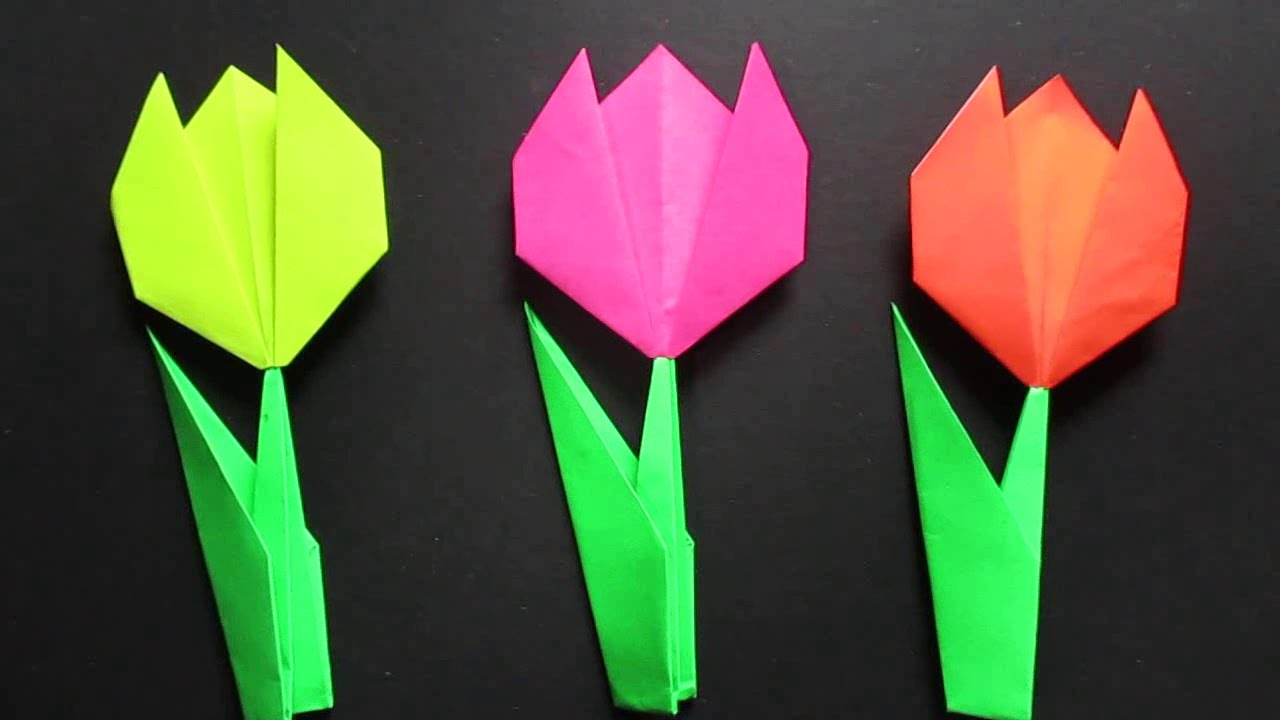 How To Make An Origami Tulip Tulip Flower Easy Origami Tulip Flower Instructions