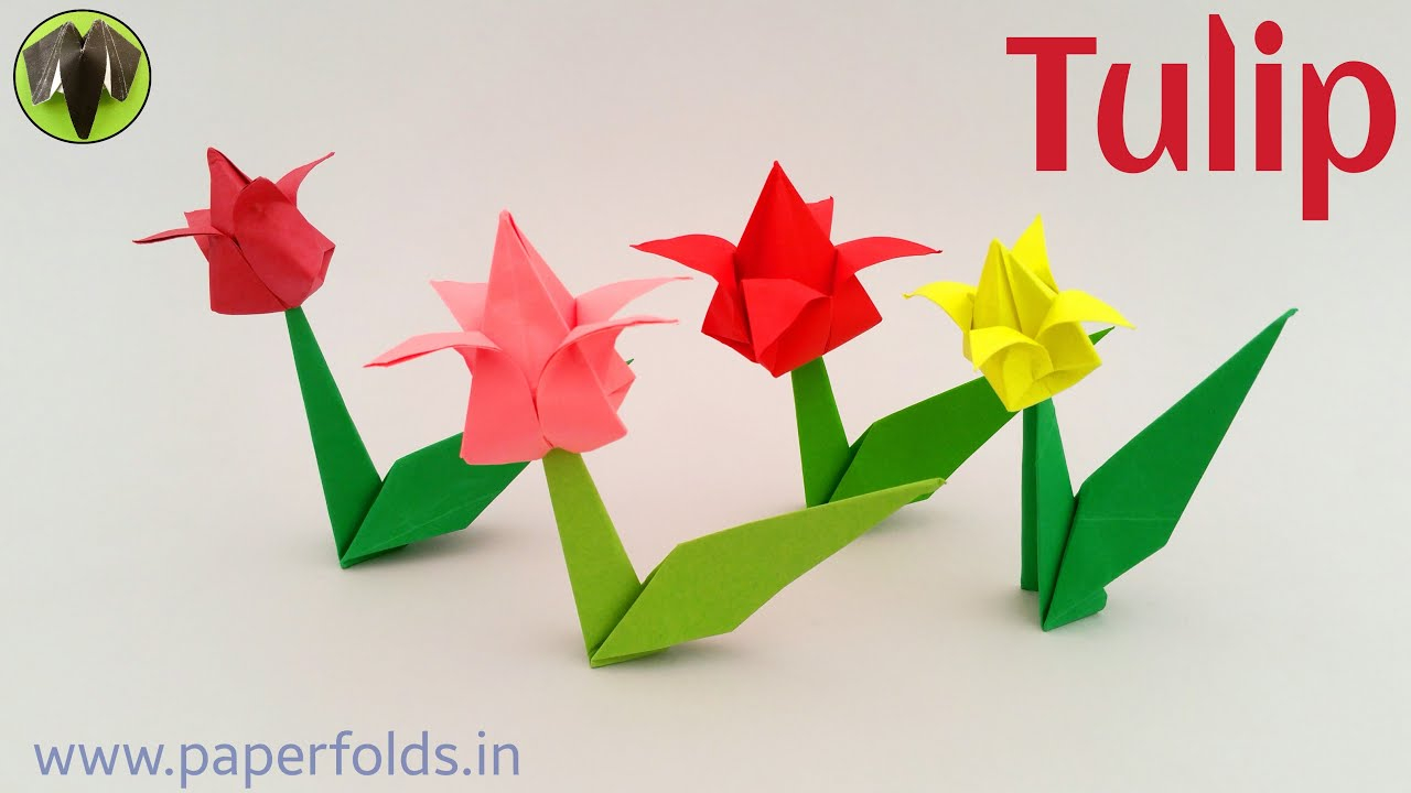 How To Make An Origami Tulip Tulip Paperfoldsin Origami Arts And Crafts