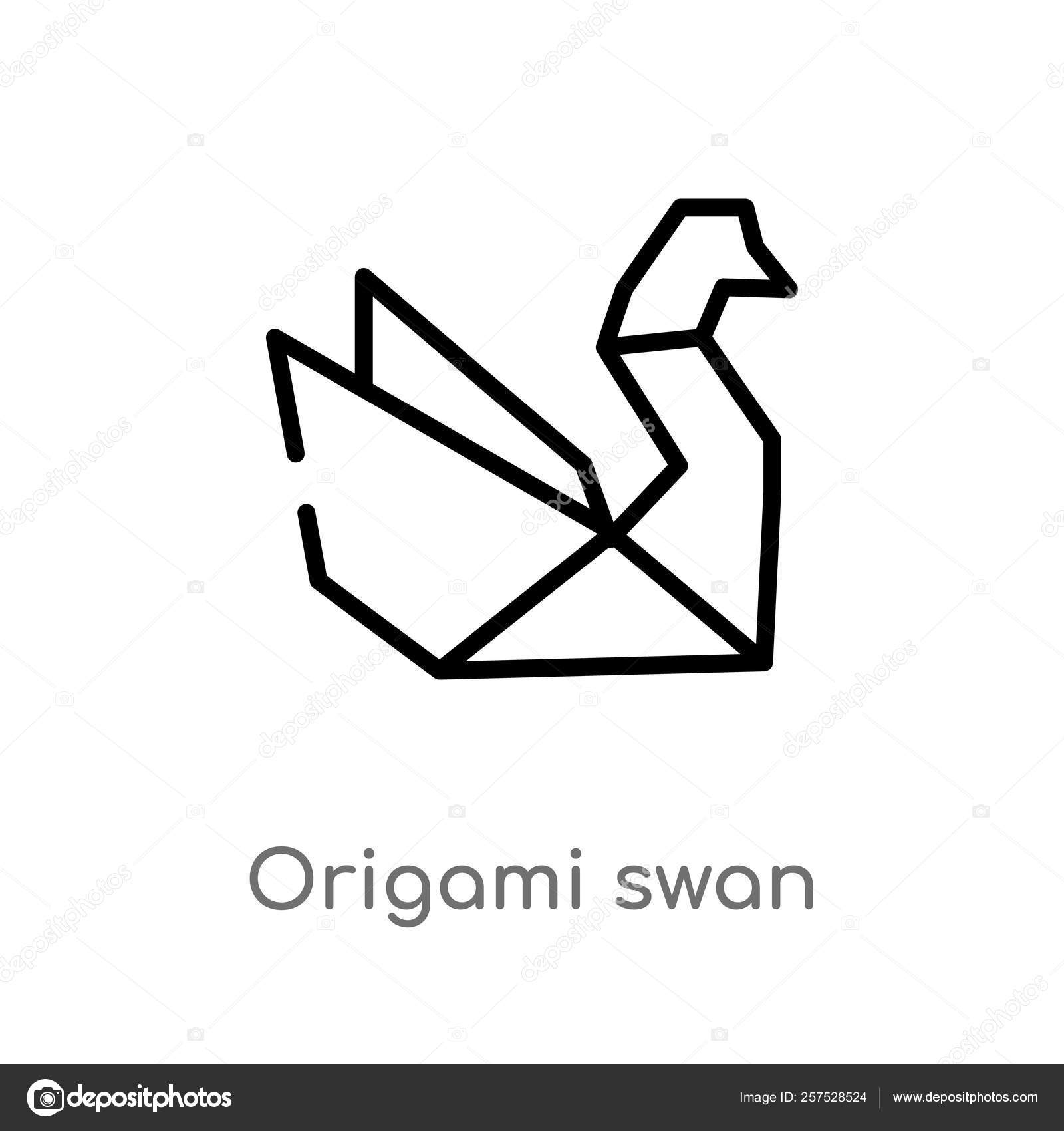 How To Origami Swan Outline Origami Swan Vector Icon Isolated Black Simple Line Element