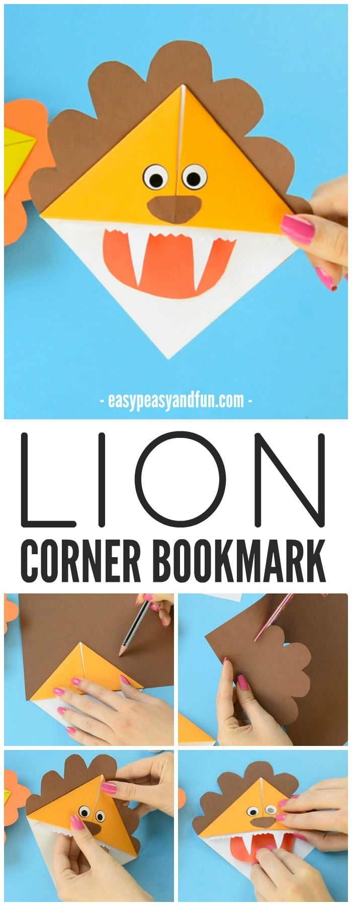 Lion Origami Easy Lion Corner Bookmarks Step Step Tutorial Easy Peasy And Fun