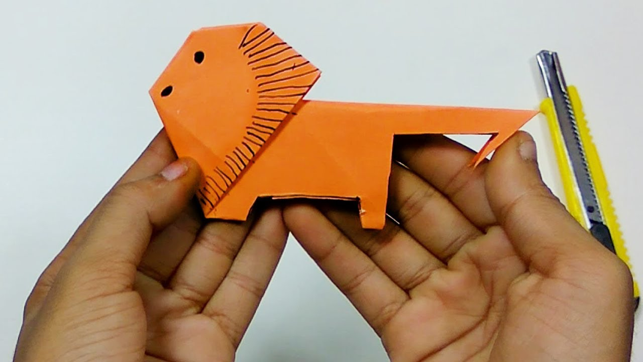 Lion Origami Easy Origami Animal How To Make A Paper Lion Origami Learn Paper Folding Origami Tutorial For Kids