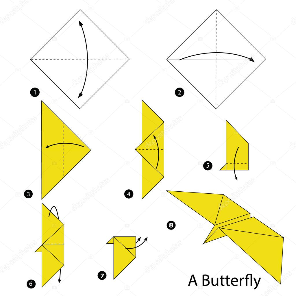 Make Easy Origami Butterfly Step Step Instructions How To Make Origami A Butterfly Stock