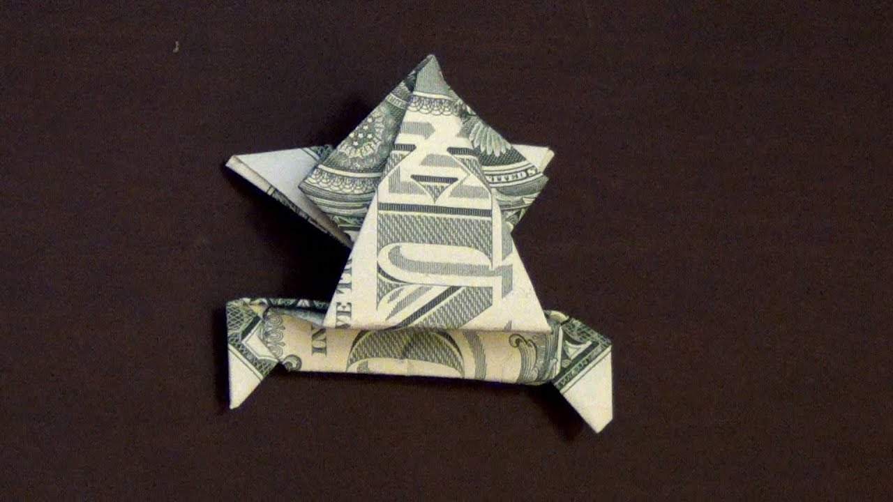 Money Frog Origami Dollar Origami Jumping Frog Tutorial How To Make A Dollar Frog