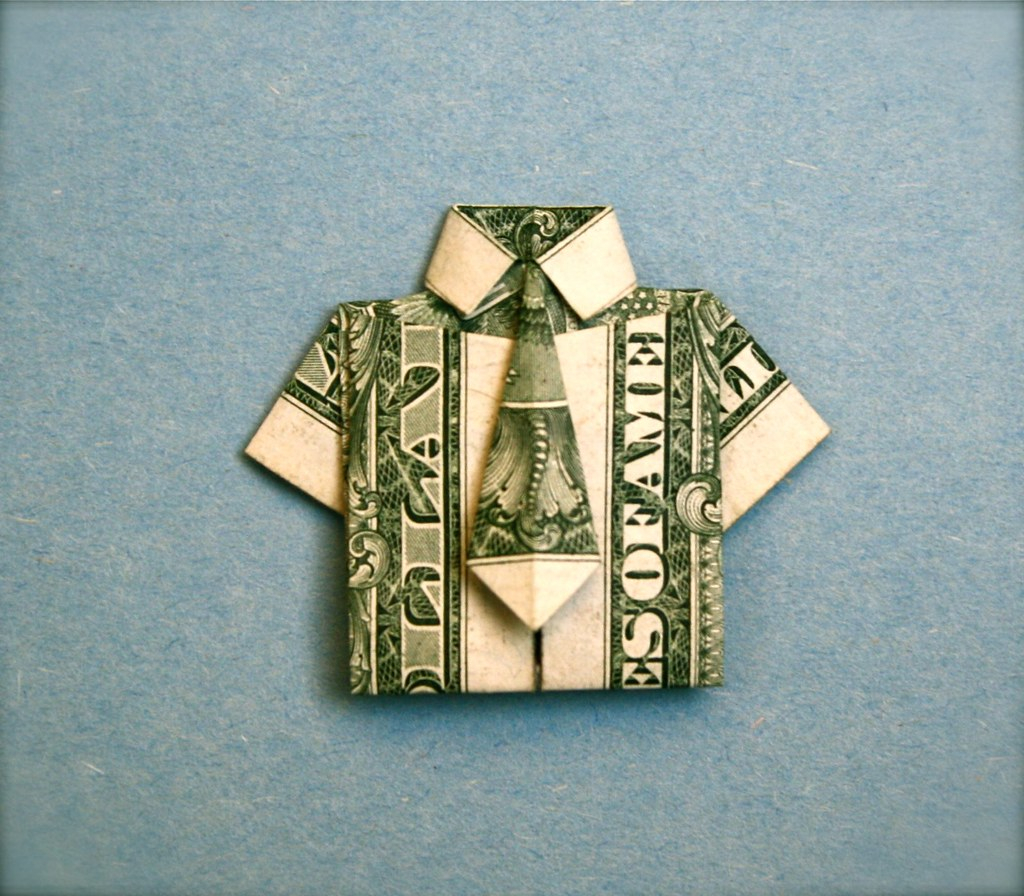 Origami Dollar Bill Shirt With Tie Shirt And Tie Folded From A Usa One Dollar Bill Designed Flickr
