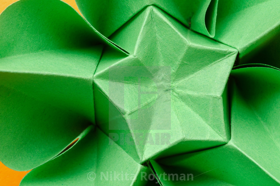 Origami Flower Star Green Paper Origami Flower With Star License Download Or Print