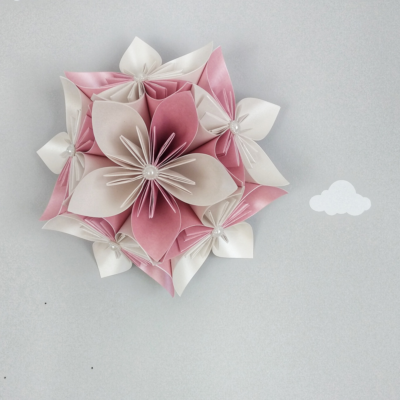 Origami Flower Star Pink Ivory Star Wall Decoration