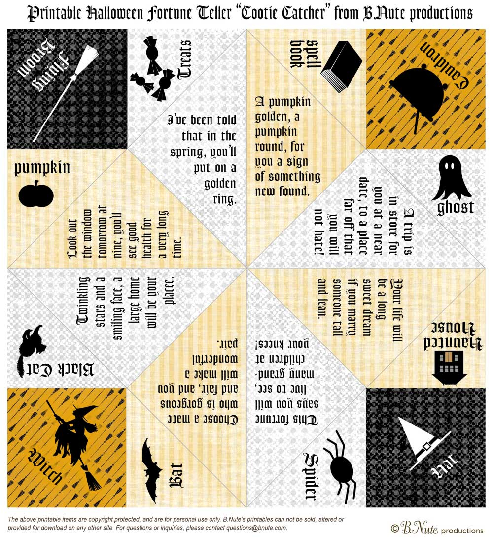 Origami Fortune Teller Sayings Free Halloween Party Printables From Bnute Productions Catch My Party