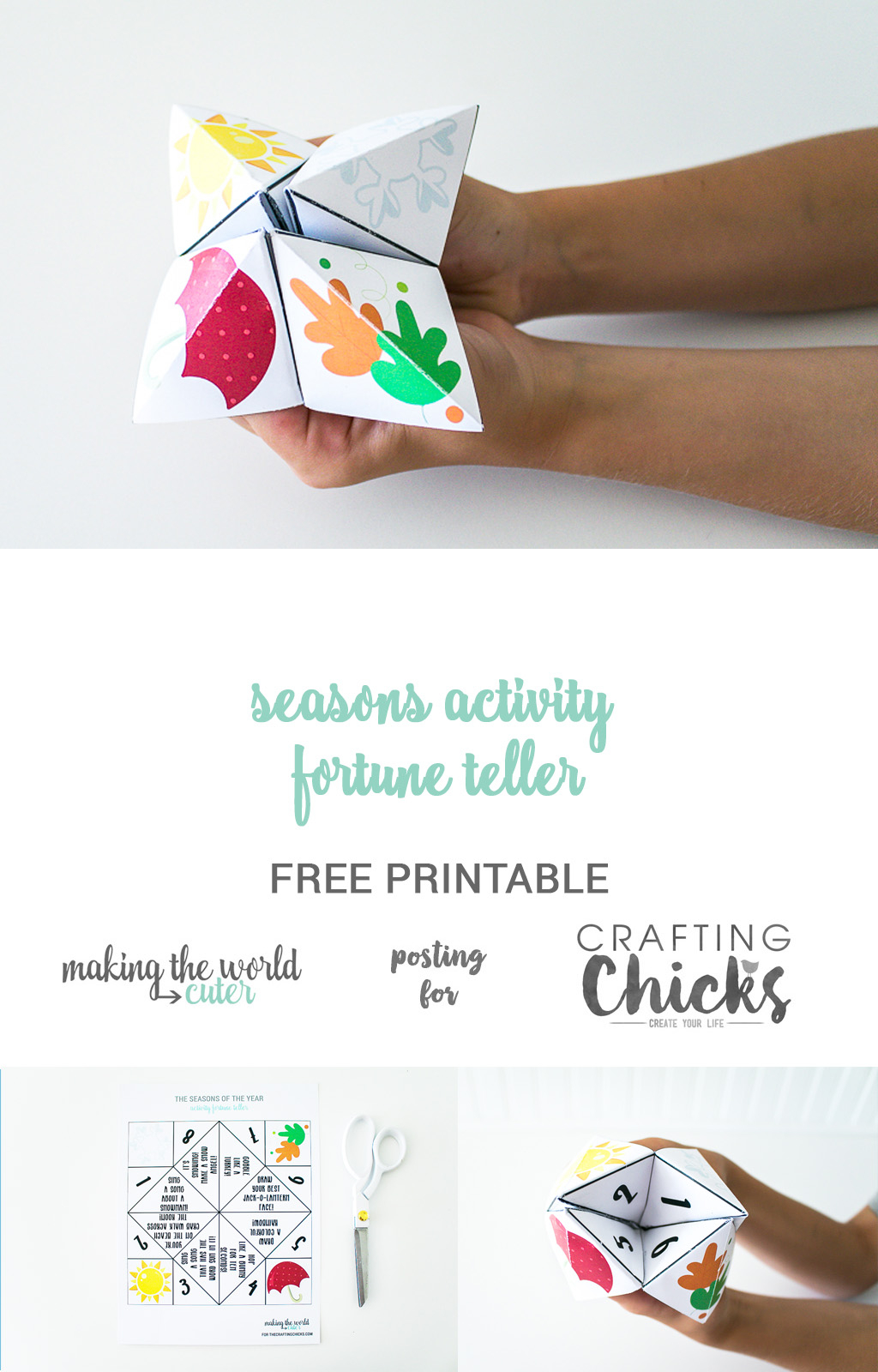 Origami Fortune Teller Sayings Seasons Activity Fortune Teller Free Printable The Crafting Chicks