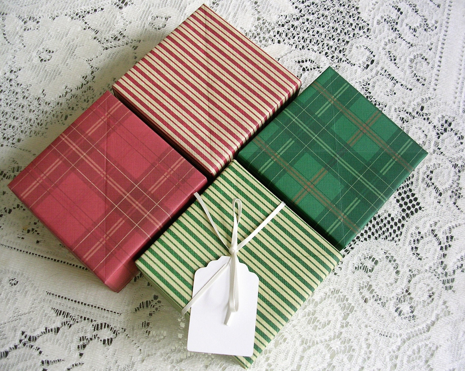 Origami Gift Boxes Christmas Gift Box Set Origami Gift Boxes Red Green Stripe And Plaid Holiday Gift Boxes Christmas Boxes Handmade