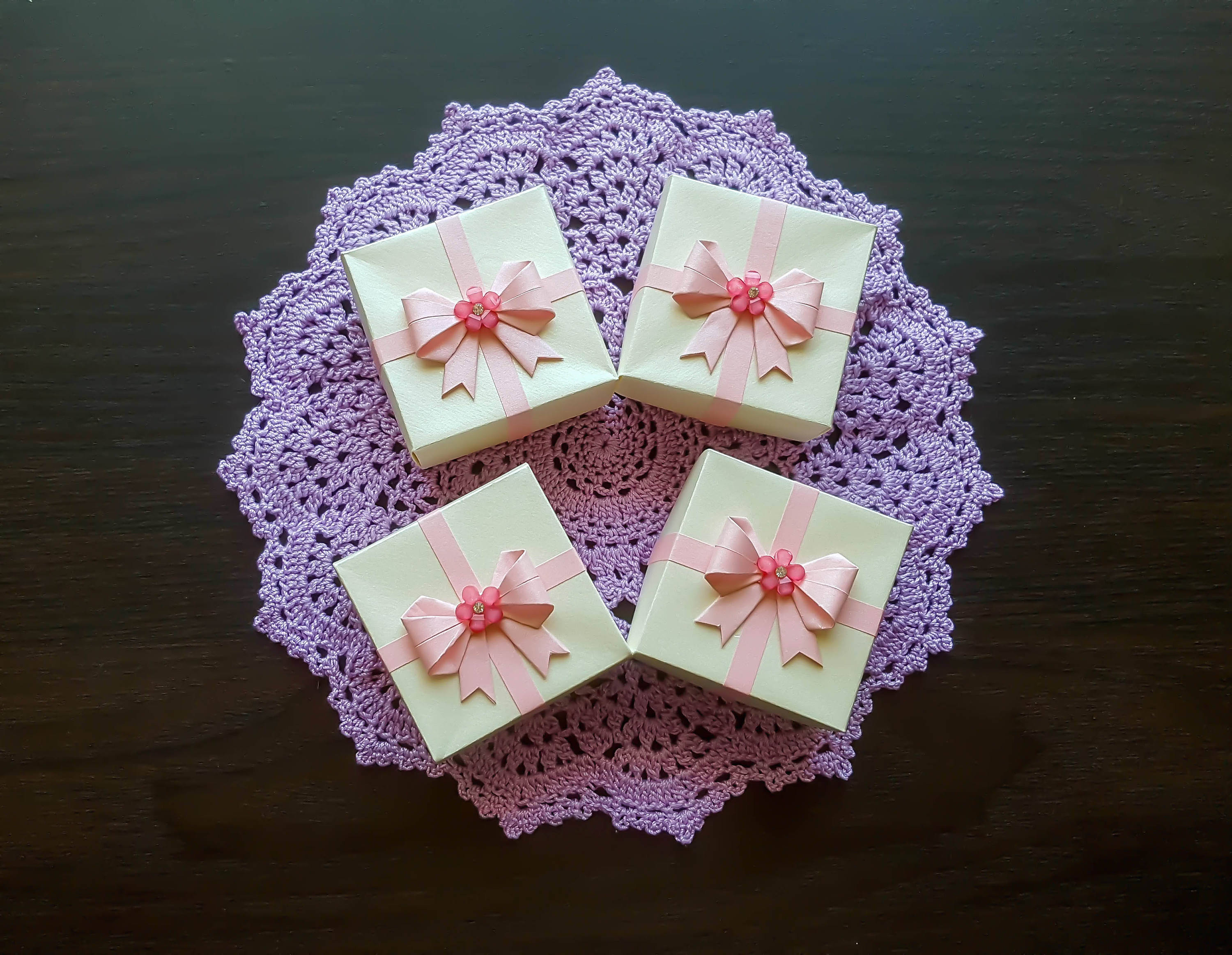Origami Gift Boxes Ivory Origami Gift Boxes Pink Paper Ribbon With Pink Bow Set Of Four Boxes Origami Jewelry Box Wedding Decor Decorated Gift Box