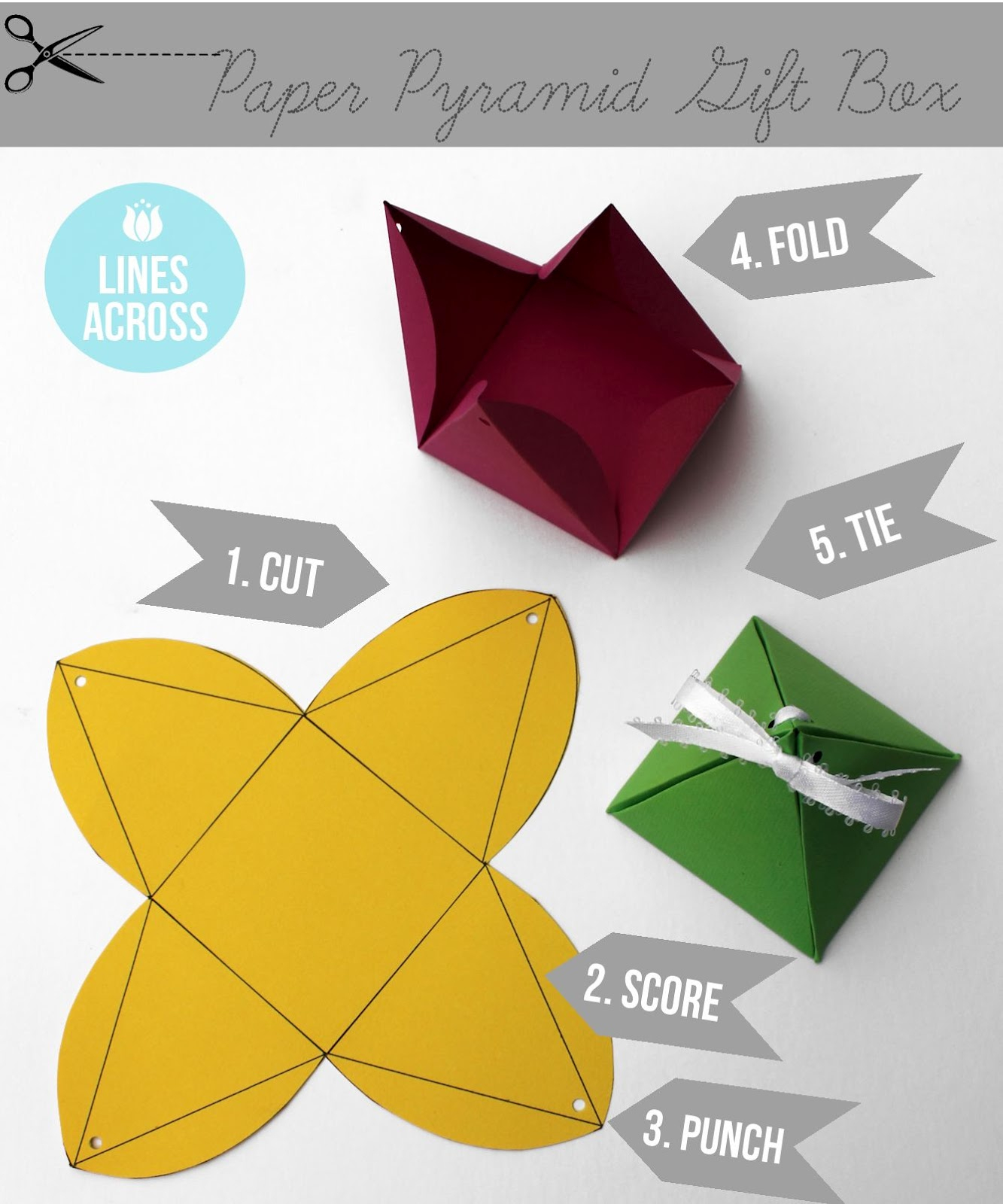 Origami Gift Boxes Paper Pyramid Gift Boxes Lines Across