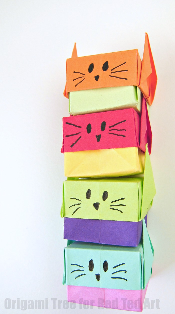 Origami Gift Boxes Stacking Origami Gift Boxes Cute Cats Red Ted Art