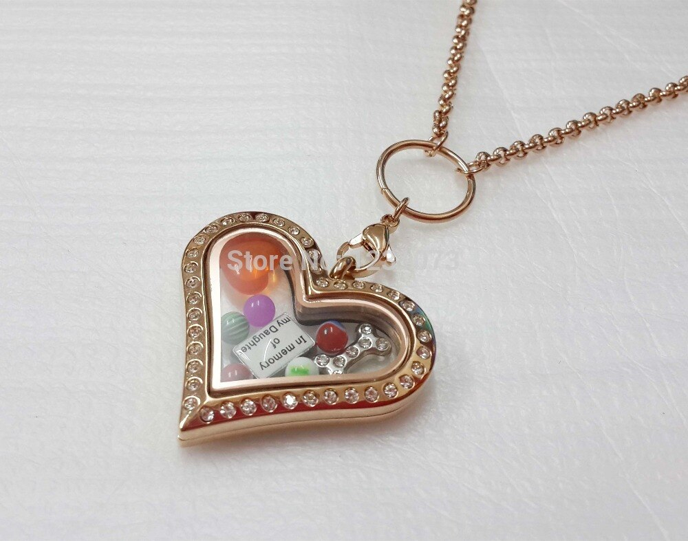 Origami Owl Over The Heart Chain 30in Stainless Steel Cz Rose Gold Heart Shaped Magnetic Glass Living