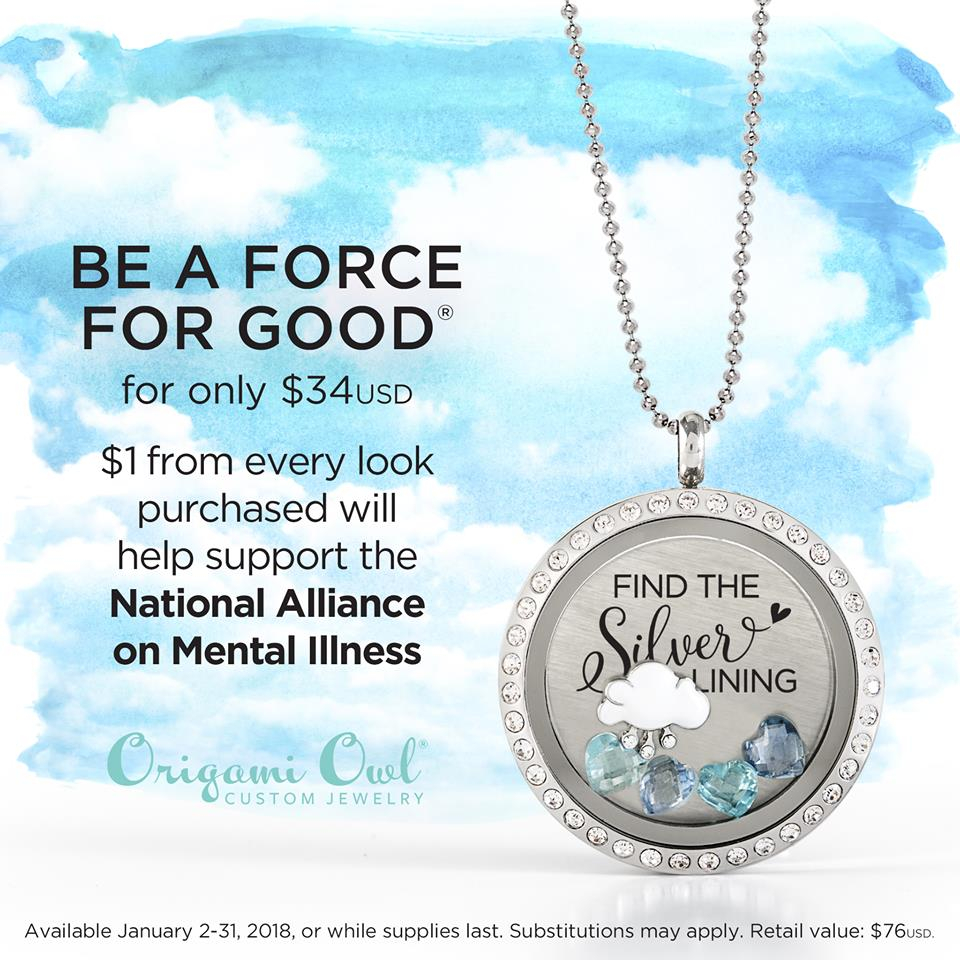 Origami Owl Over The Heart Chain Origami Owl January Force For Good Locket Find The Silver Lining