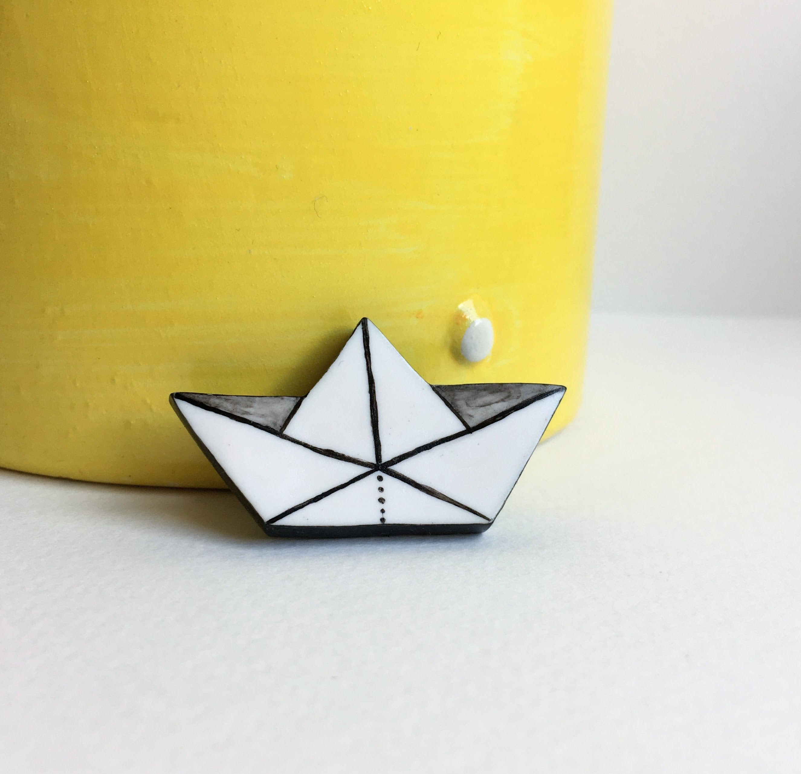 Origami Paper Boat Origami Paper Boat Handmade Polymer Clay Minimalist Brooch Unique Hand Painted Pin Gift