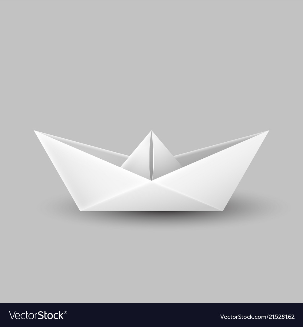 Origami Paper Boat Origami Paper Boat Ship Isolated On Gray