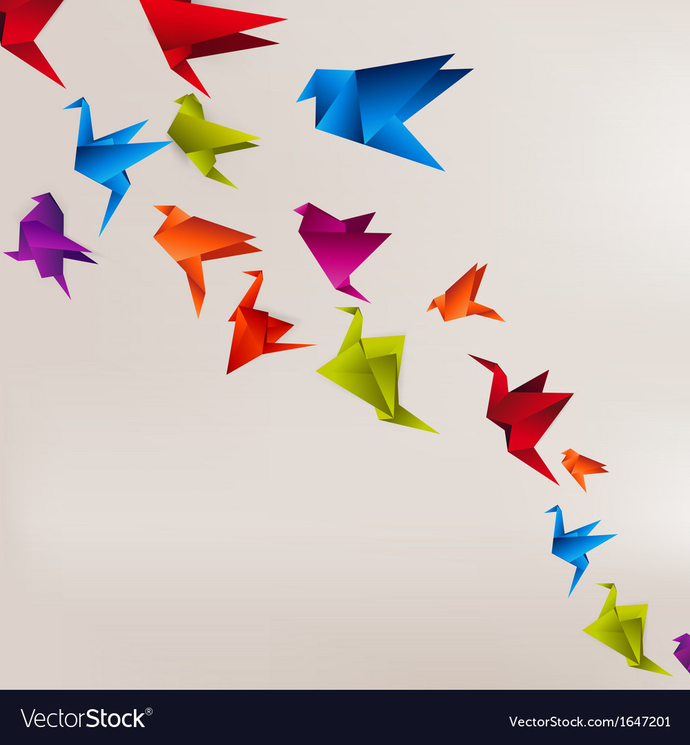 Origami Paper Images Origami Paper Bird On Abstract Background