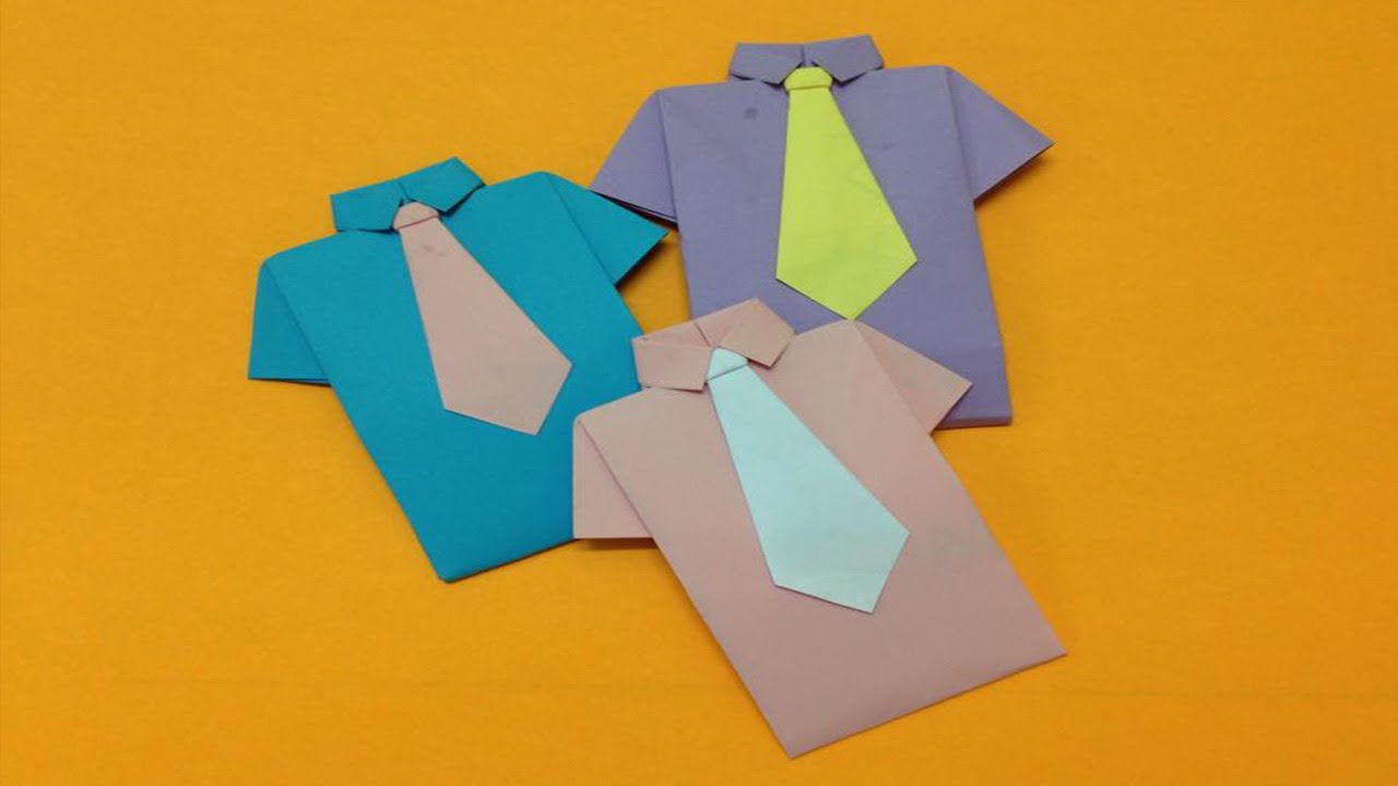 Origami Shirt And Tie How To Make Paper Shirt And Neck Tie Easy Origami Shirts For Beginners Making Diy Paper Crafts